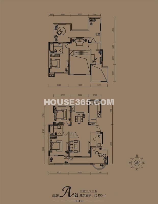 华远海蓝城一期A5a户型3室3厅3卫1厨 156.00㎡