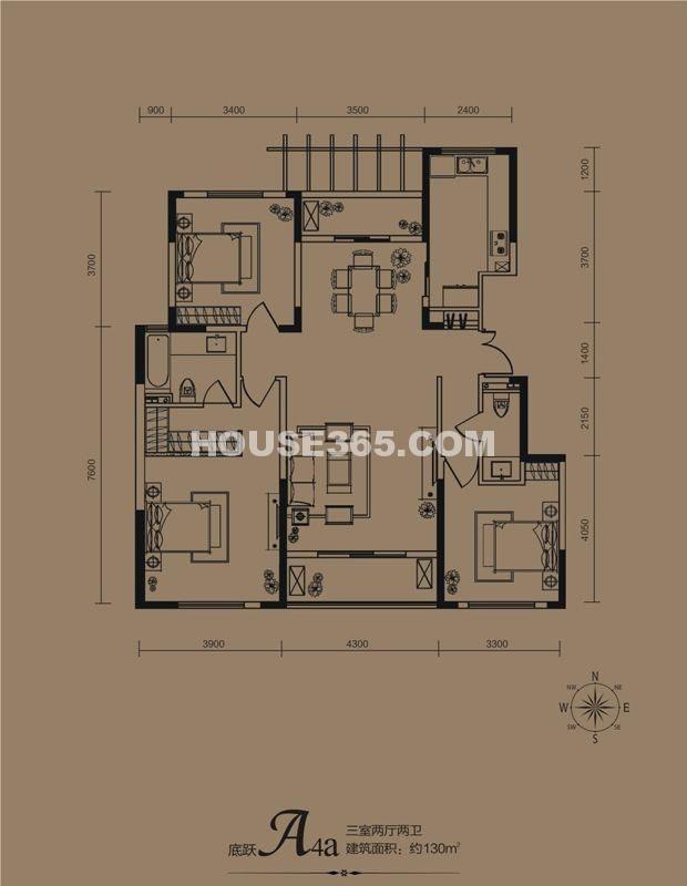 华远海蓝城一期A4a户型3室2厅2卫1厨 130.00㎡