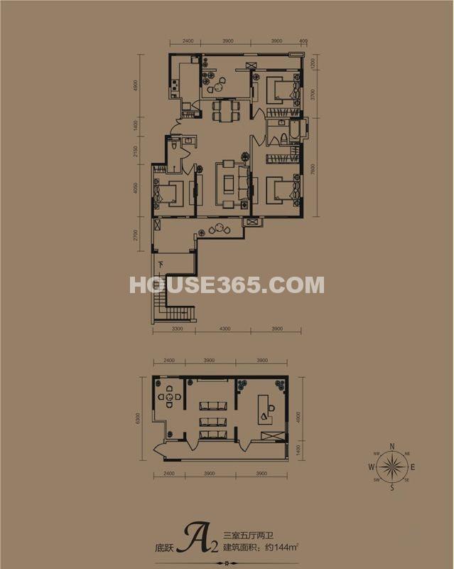华远海蓝城一期A2户型3室5厅2卫1厨 144.00㎡