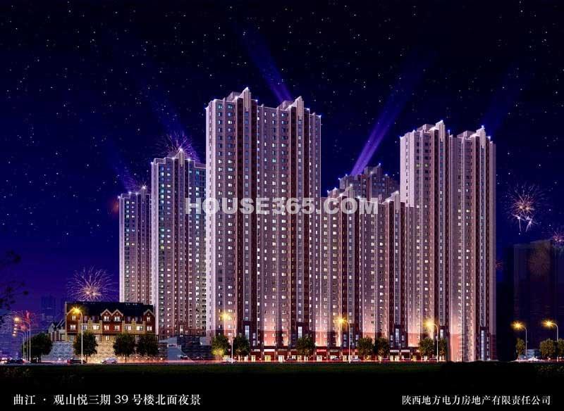 曲江观山悦三期39#楼北面夜景效果图