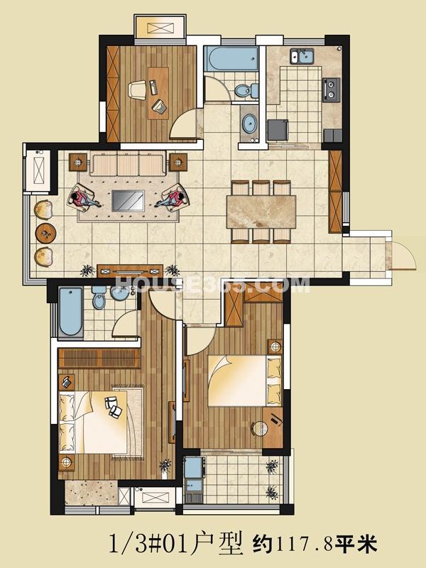 1/3#01户型 117.8㎡ 3室2厅2卫