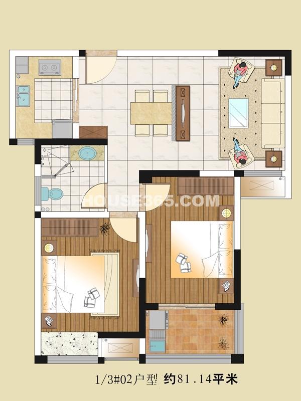 1/3#02户型 81.14㎡    2室2厅1卫