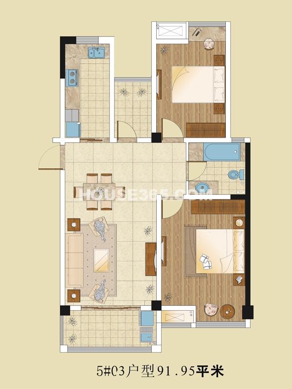 5# 03户型 2室2厅1卫 91.95㎡