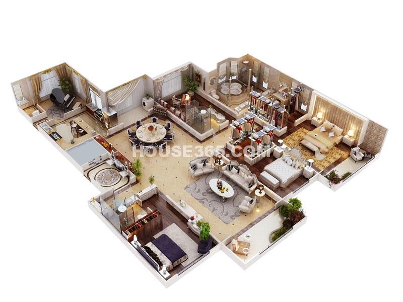 海珀香庭3#楼奢景平墅户型图五室三厅两卫一厨300㎡