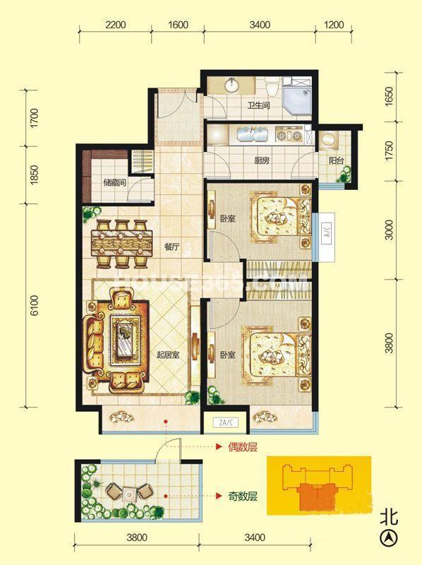 富力城F1栋正南户型图2室2厅1卫1厨 88.00㎡