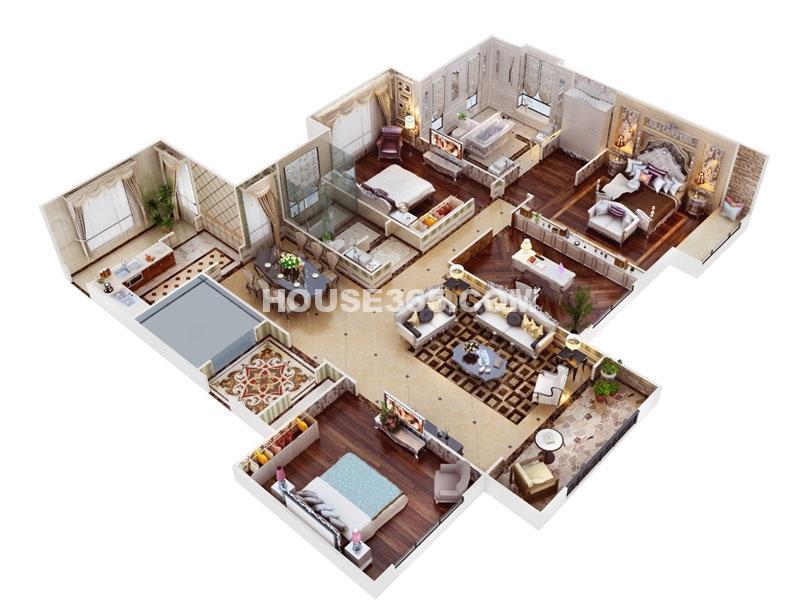 海珀香庭2/4#楼阔景平墅户型四室两厅两卫一厨184㎡