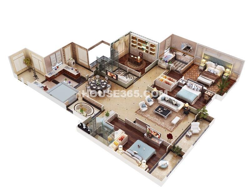 海珀香庭3#楼奢景平墅户型五室三厅两卫一厨240㎡