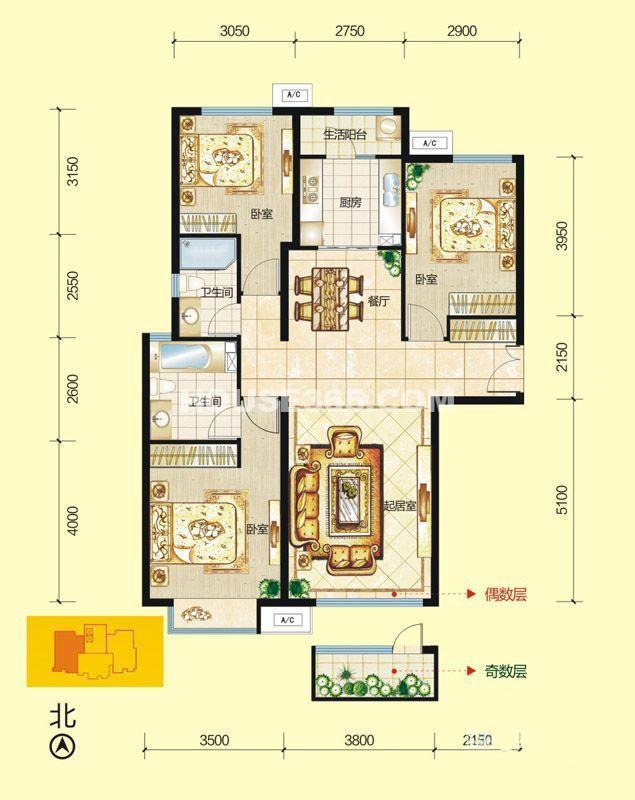 富力城F2栋户型图3室2厅2卫1厨 125.00㎡