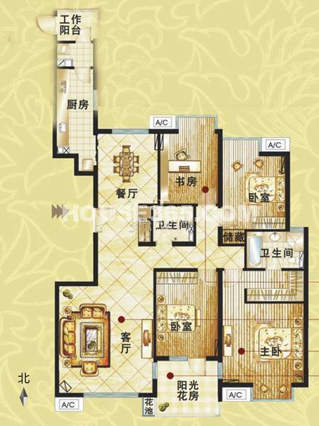 富力城户型4室2厅2卫1厨 178.00㎡