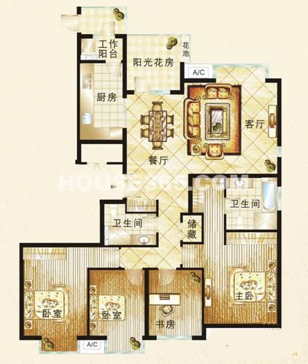 富力城户型图4室2厅2卫1厨 157.00㎡