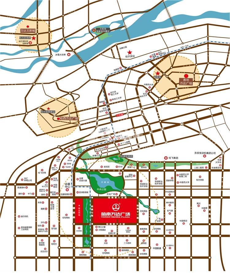 哈南万达广场交通图