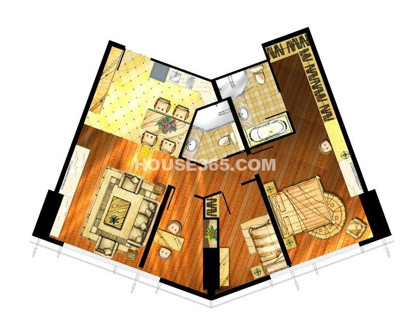 世茂铂晶宫两室一厅两卫184平户型图