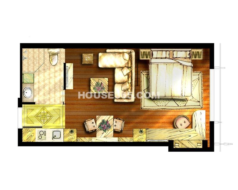 世茂铂晶宫一室一厅一卫52平户型图