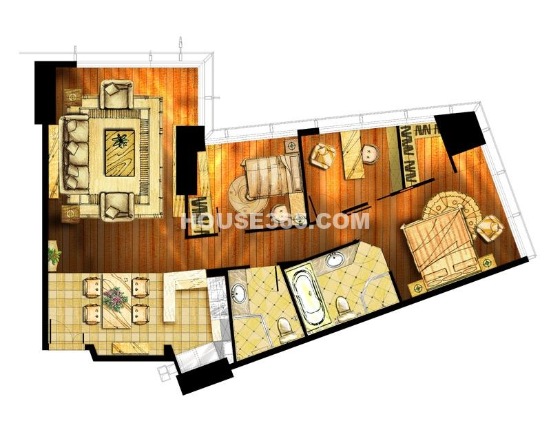 世茂铂晶宫两室两厅一厨两卫201平户型图