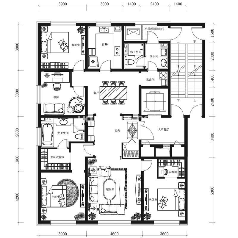 万科春河里户型图H户型 4室2厅 面积:206.00m2