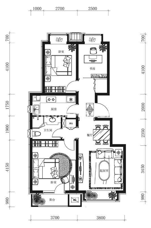 万科春河里项目户型图万科春河里户型图A户型 3室1厅 96平米
