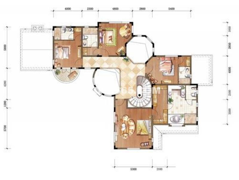 中粮本源大独栋别墅SFD-1-N-FR二层平面图6室3厅6卫 390.00㎡