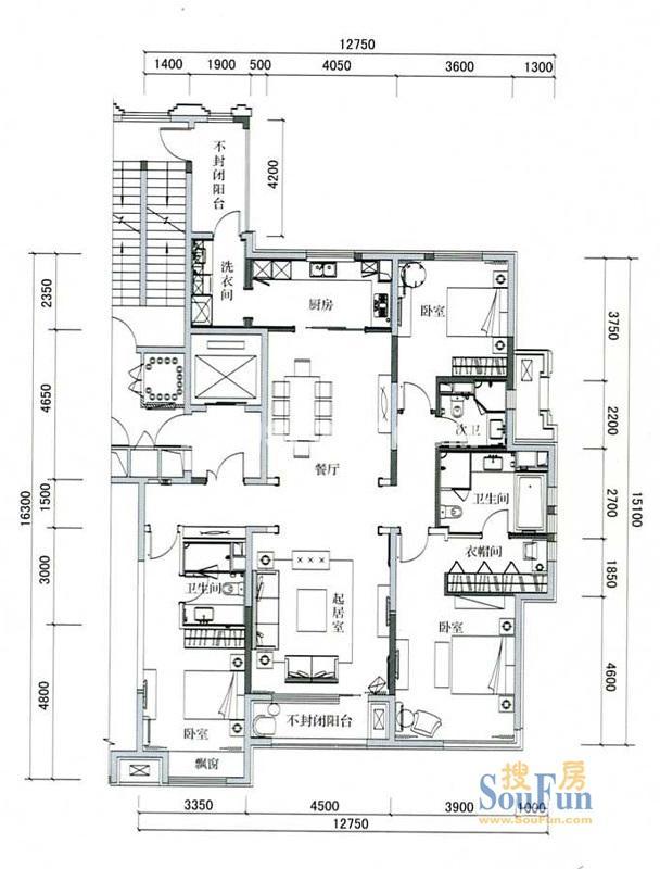 万科柏翠园B户型3室2厅3卫 200.00㎡