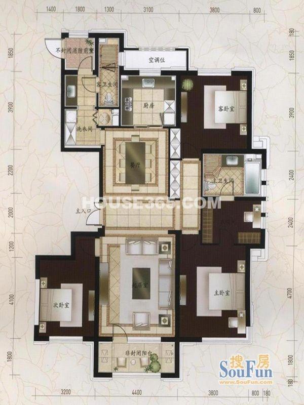 万科柏翠园A户型3室2厅2卫 175.00㎡