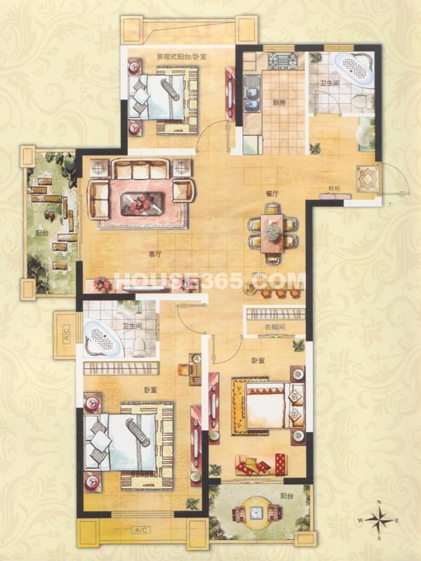 29#31#A5户型-三室两厅两卫(116.8+8.7)