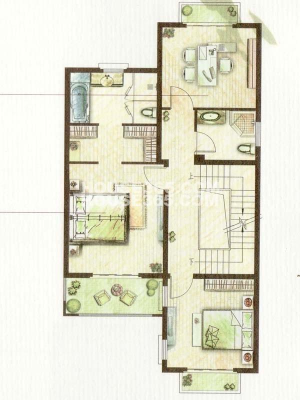 B户型澜香-4室2厅3卫-2楼(总户型面积338㎡)