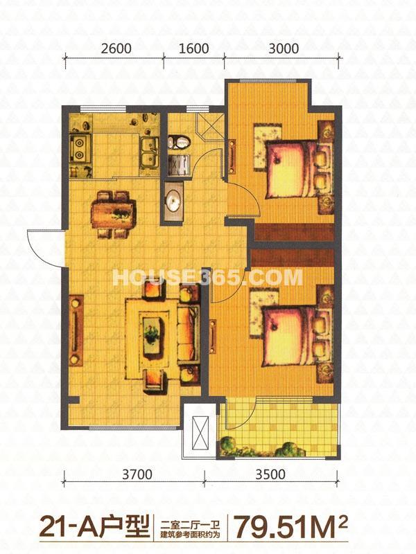 荣盛锦绣天地21-A户型2室2厅1卫79.51㎡