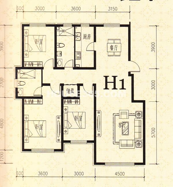 鑫丰熙区府1号H1户型3室2厅2卫136.81㎡