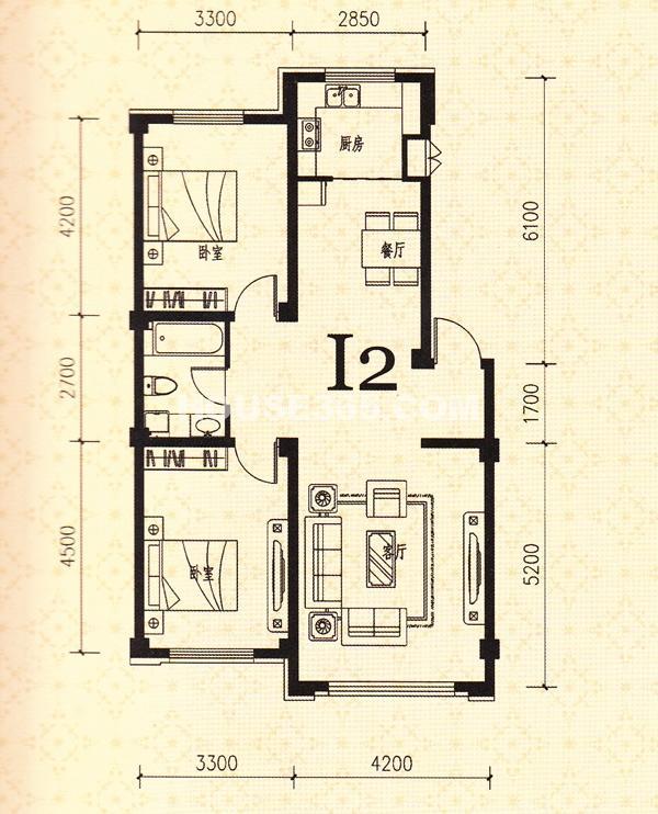 鑫丰熙区府1号I2户型2室2厅1卫95.86㎡