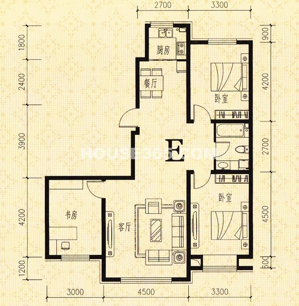 鑫丰熙区府1号E户型3室2厅1卫113.68㎡