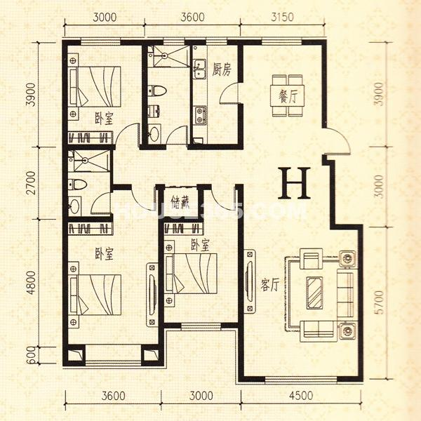 鑫丰熙区府1号H户型3室2厅1卫137.84㎡
