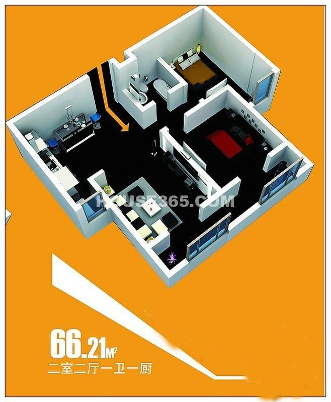 北美公馆B2户型2室2厅1卫-66.20㎡