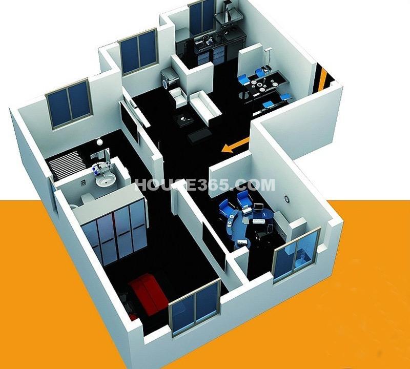 北美公馆C1户型3室2厅1卫-85.40㎡