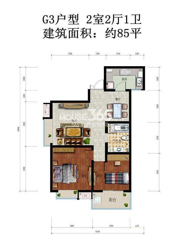 中铁尚都城三期15/16/17#楼G3户型2室2厅1卫1厨 85.00㎡