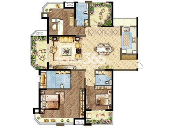 三期5#6#楼户型-3室2厅3卫 185平