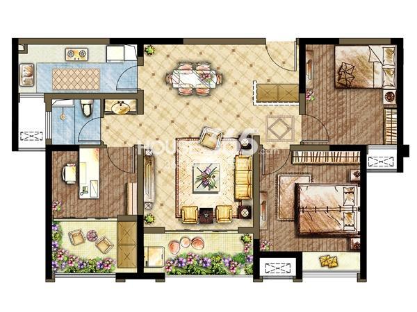 三期5#6#楼户型-3室2厅1卫 99平