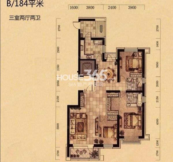 奕聪花园B户型产品184平三室两厅两卫