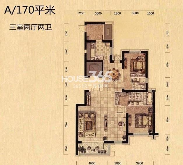奕聪花园A户型产品170平三室两厅一卫
