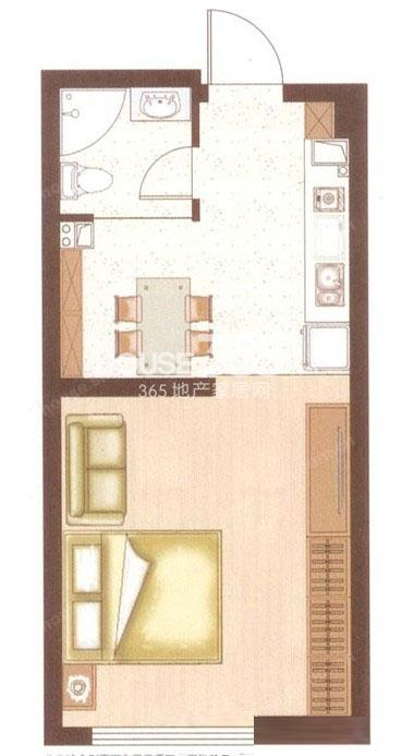 明发滨江新城46平米单身公寓