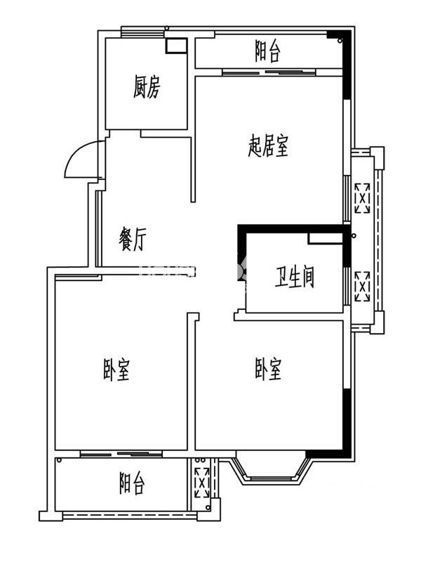 凯阳花园二期17幢平层M户型3室2厅1卫1厨