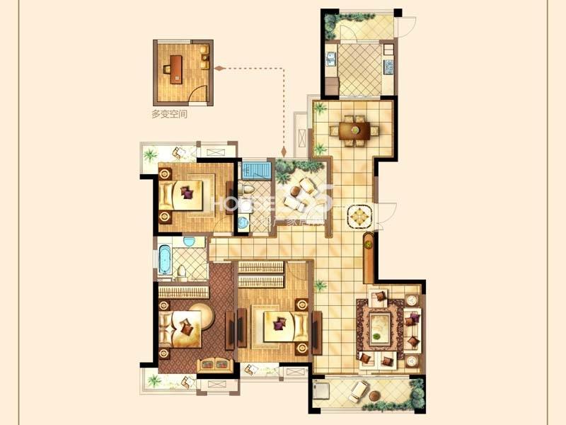 A户型-三房两厅两卫+空中花园 约170平