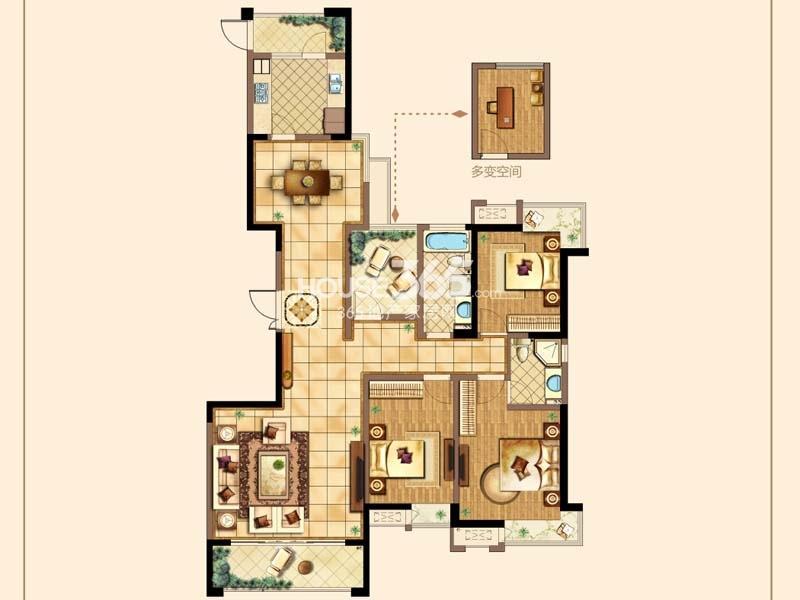 B户型-三房两厅两卫+空中花园 约146平