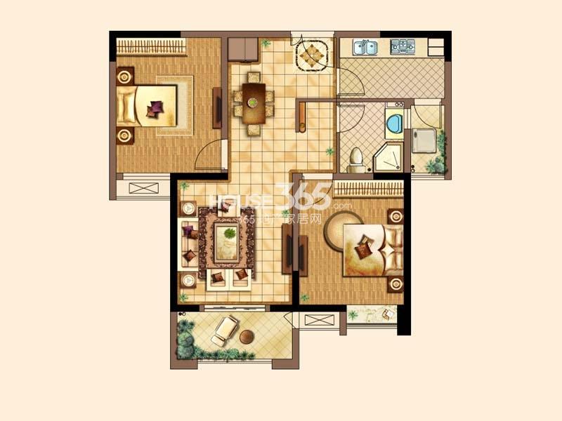 E户型-两房两厅一卫 约92平