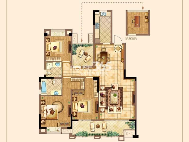 C户型-三房两厅两卫+空中花园 约139平