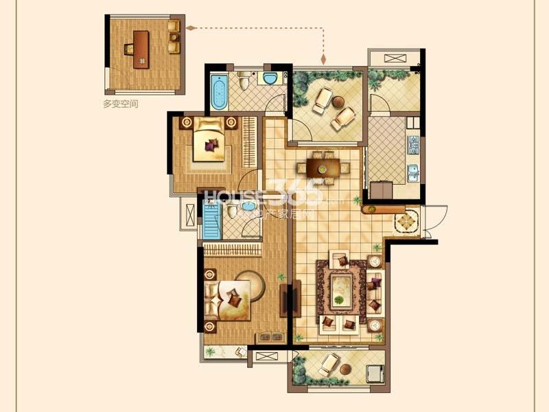 D户型-两房两厅两卫+空中花园 约122平