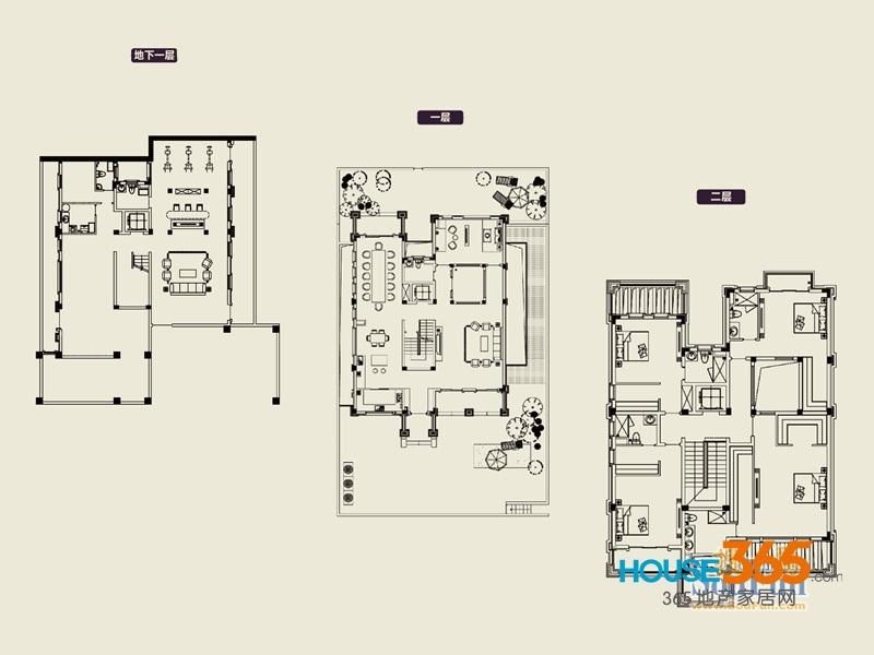 1期88#609㎡户型图4室3厅5卫1厨