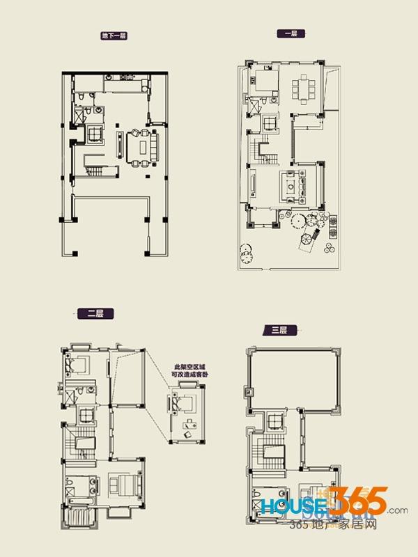1期72#387㎡户型图3室2厅3卫1厨
