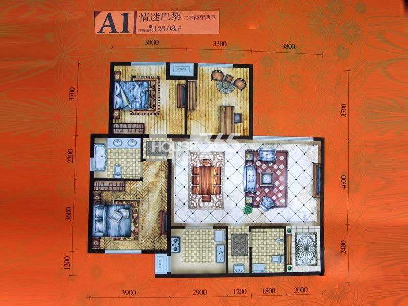 腾业·国王镇A1户型3室2厅2卫1厨 128.08㎡