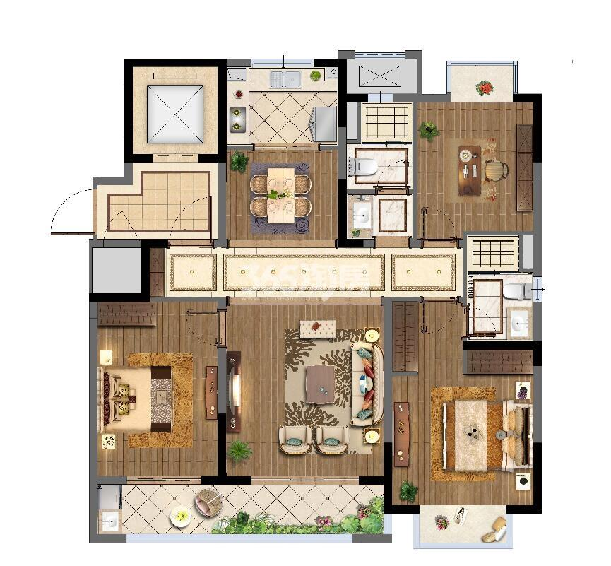 海尔产城创翡翠文华小高层A户型125平户型图