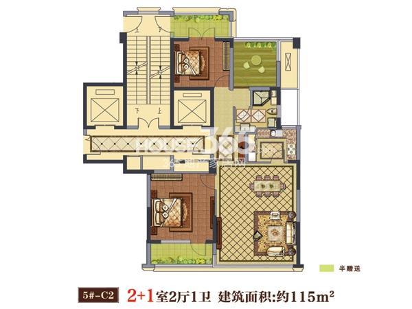 5#-C2户型  2+1室2厅1卫