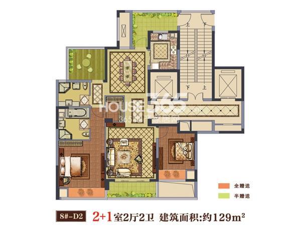 8#-D2户型  2+1室2厅2卫